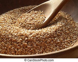 Sesame Seeds - Wooden bowl of sesame seeds