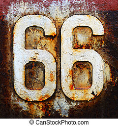 sesenta, seis, ruta, camino, señal de autopista, viaje,...