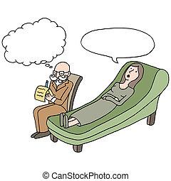 sesión, terapia, hembra