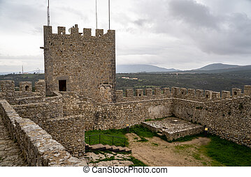 Sesimbra, Portugal - January 24, 2020: View of the interior ruins of Sesimbra Castle on an overcast winter day