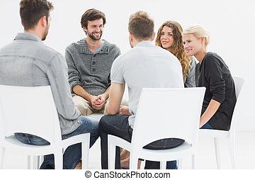sessão, círculo, grupo, terapia, sentando