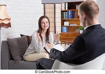 sessão, com, psicoterapeuta, é, útil