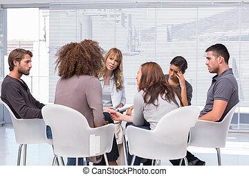 sessão, grupo, ao redor, pacientes, terapeuta, terapia