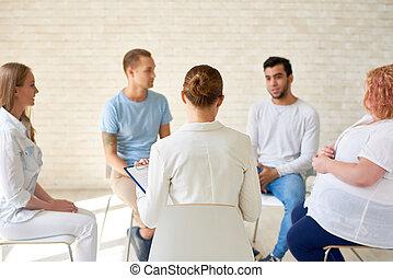 sessão treinamento, grupo, jovens