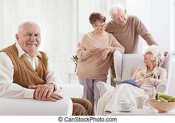 sessel, älterer mann, sitzen