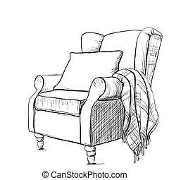 Sessel gezeichnet  Clipart Vektorbild von sessel, cozy - sessel, lampe, vektor ...