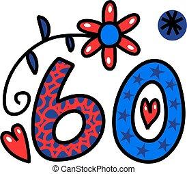 sessenta, doodle, número, texto