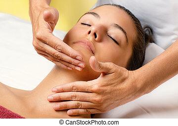 session., femme, cosmétique, traitement beauté