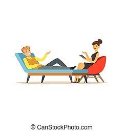 sessione, circa, paziente, problemi, carattere, illustrazione, parlare, psicologo, vettore, femmina, sorridente, maschio, psicoterapia, detenere, consiglio
