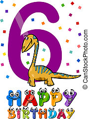 sesto, compleanno, disegno, cartone animato