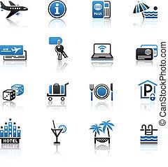 &, set., ícones, viagem, férias, recreação
