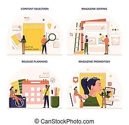 set., εργαζόμενος , γενική ιδέα , δημοσιογράφος , εκδότηs , σχεδιαστής , περιοδικό