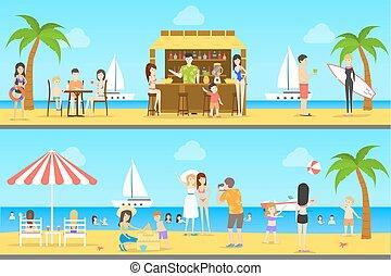 set., παραλία , άνθρωποι