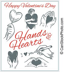 set., ולנטיינים, -, לבבות, hends, יום