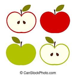 set., アイコン, 緑のリンゴ, 赤