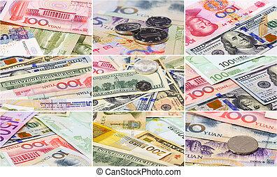 (set), コラージュ, メモ, ドル, 合衆国通貨, yuan, 単語, 本, 銀行, ユーロ