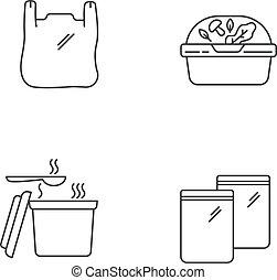 set., サラダ, ハンドル, 完全, ベクトル, 容器, 線, ジッパー, editable, 隔離された, ピクセル, アイコン, アウトライン, ストローク, drawing., プラスチック, パッケージ, customizable, 袋, 線である, packet., ふた, 薄くなりなさい, takeout, symbols.
