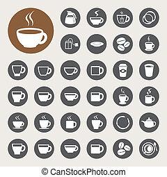 set., ティーカップ, アイコン, コーヒー