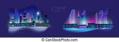 set., ネオン, ベクトル, 青, 都市, パノラマ, 夜, 白熱, バックグラウンド。