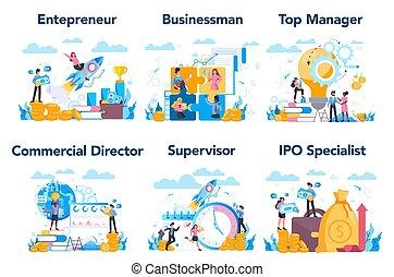 set., ビジネス, managment, ∥あるいは∥, 上, 専門職, 特徴