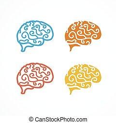 set., ベクトル, アイコン, 脳