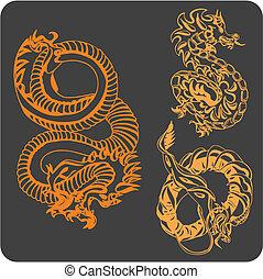 set., ベクトル, -, 中国語, ドラゴン