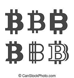 set., ベクトル, 印, bitcoin, アイコン