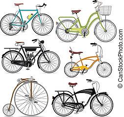 set., ベクトル, 自転車, illustration.