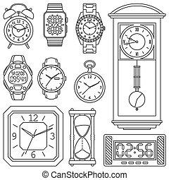 set., ベクトル, illustration., 腕時計