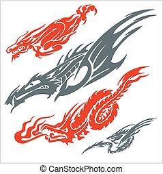 set., ベクトル, tattoo., ドラゴン