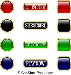 set., ボタン, ベクトル, illustration., グロッシー