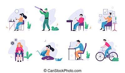 set., 創造的, 活動, 人々, コレクション, 趣味