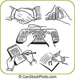 set., 工作, 矢量, hands.