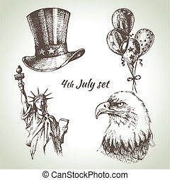 set., 手, 第4, イラスト, 引かれる, 7月, アメリカ, 日, 独立