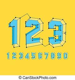 set., 数, icons., ベクトル, 3d