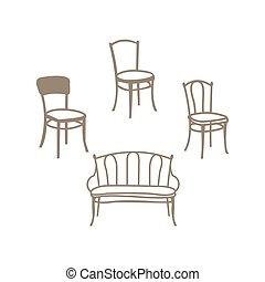 set., 椅子, 家, 肘掛け椅子, furniture., 白, 建築, ベクトル, オフィス, テーブル, 隔離された, デザイン, セット, 内部