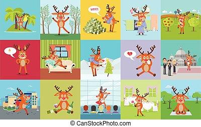 set., 鹿, 每日, 驯鹿, 矢量, 感情, 活动