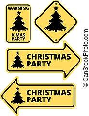 set., 黄色, humourous, ベクトル, 矢, サイン, イラスト, パーティー, クリスマス, 道