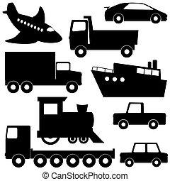 set, 1, di, trasporto, silhouette