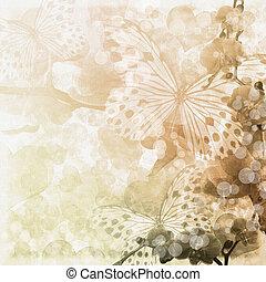 (, set), 1, mariposas, fondo beige, flores, orquídeas