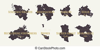 Set 1 of 2 Highly detailed maps vector silhouettes states of Germany with names and capital