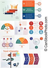 Set 10 universal templates elements Infographics conceptual cyclic processes for 3 positions