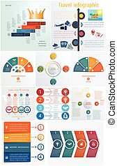 Set 10 universal templates elements Infographics conceptual cyclic processes for 4 positions