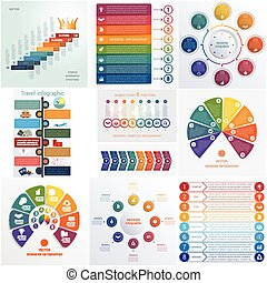 Set 10 universal templates elements Infographics conceptual cyclic processes for 8 positions possible to use for workflow, banner, diagram, web design, timeline, area chart, number options