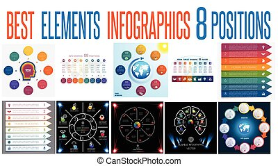 Set 10 universal templates elements Infographics for 8 positions