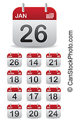 set, 12, kalender, opstaan