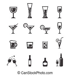 set, 142, alcool, icone, beva bibita
