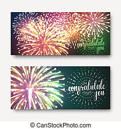 Set 2 brochures festive design with fireworks. Bright background printing