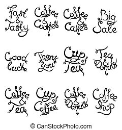 Set 2 of curly lettering Phrases for Coffee Shop. Vector illustration.