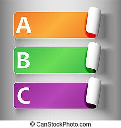 set, 2-peeling, etichette, con, lettere